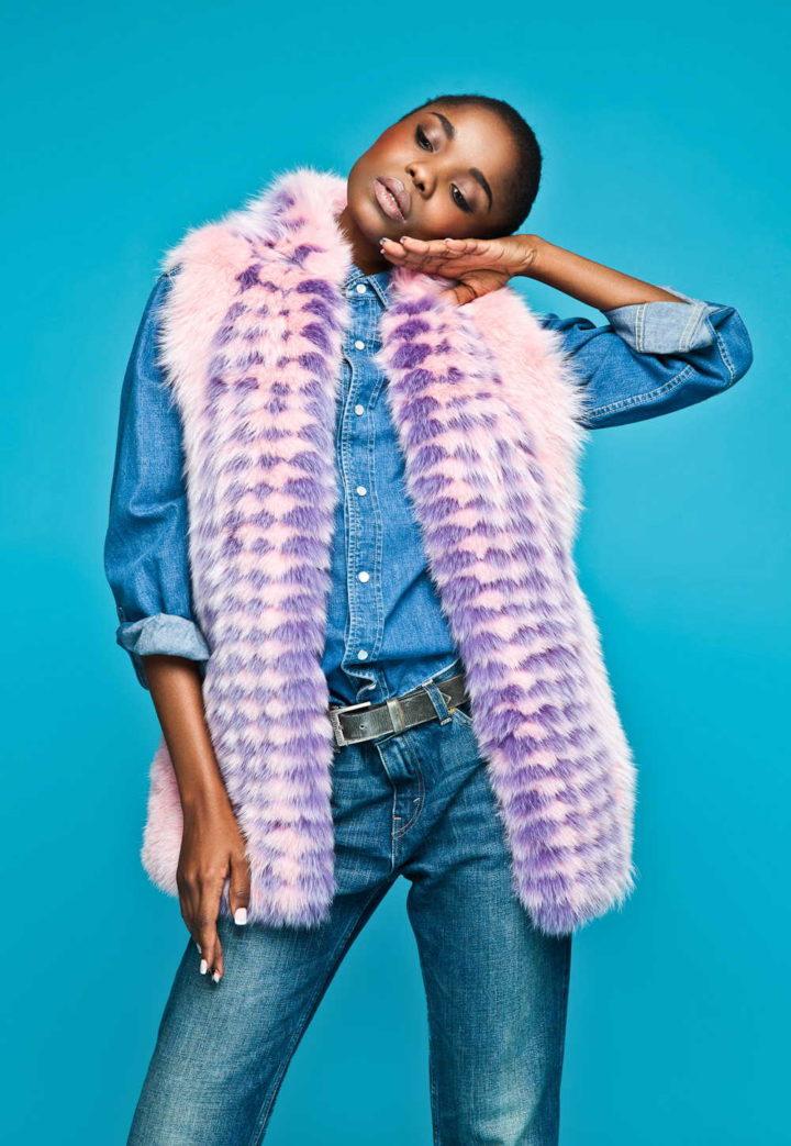 """Pink haze"" Fur Vest"