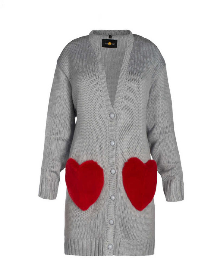 """RED HEARTS"" SHORT CARDIGAN"