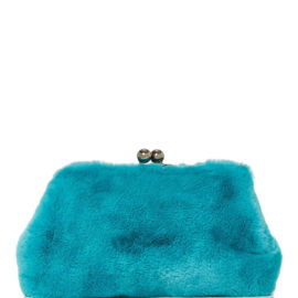 large blood honey blue rabbit fur clutch