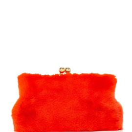 large blood honey red rabbit fur clutch