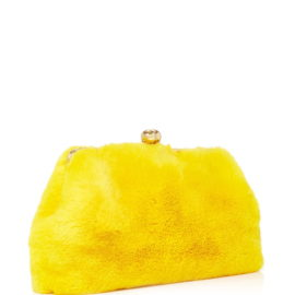 large blood honey yellow rabbit fur clutch