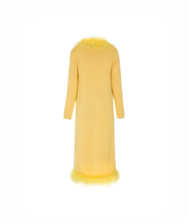 """YELLOW CARDIGAN"" WITH LAMA FUR DÉCOR"