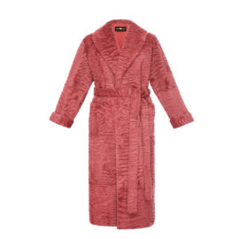 DARK PINK RABBIT FUR ROBE COAT