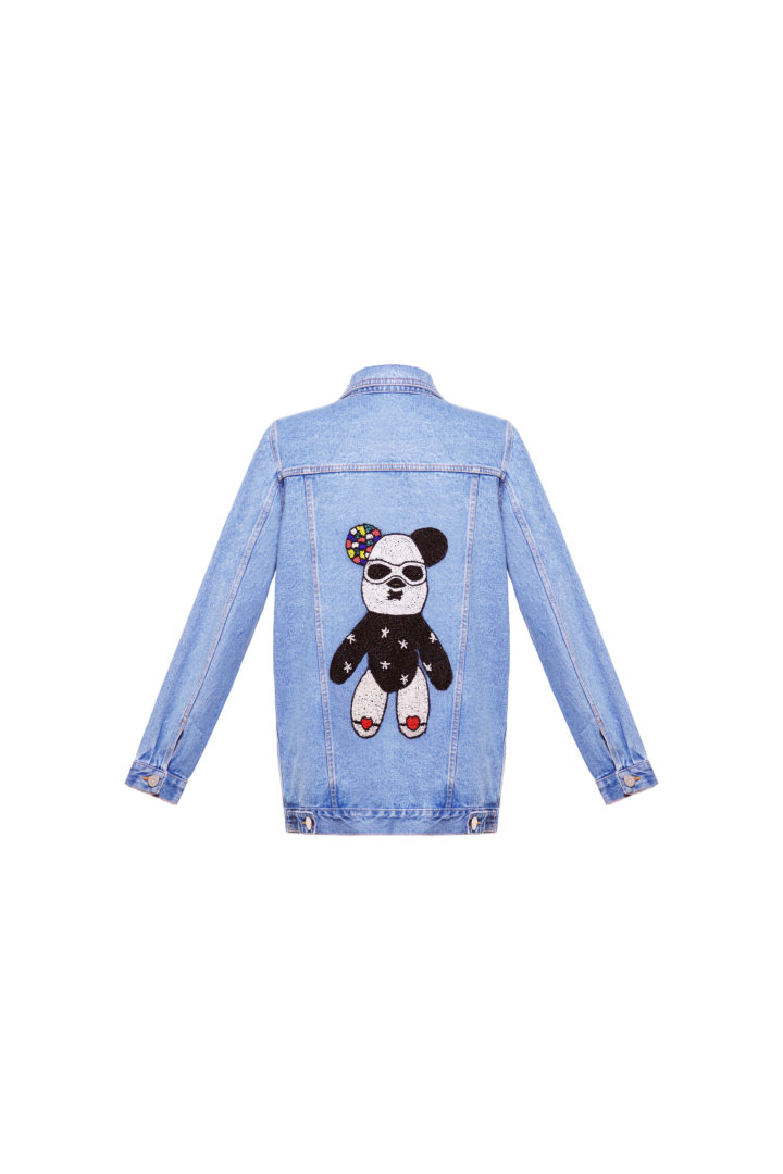 Denim jacket with beaded bear