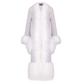 """WHITE CARDIGAN"" WITH LAMA FUR"