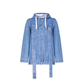 Denim jacket with hood and