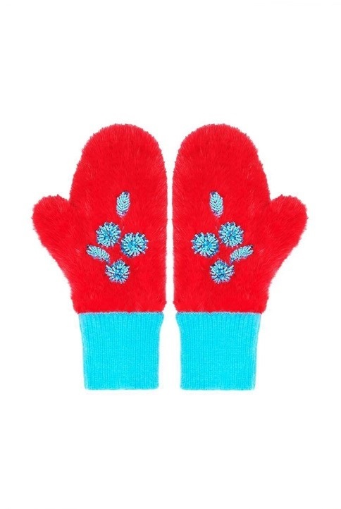 Red mink mittens with beaded décor