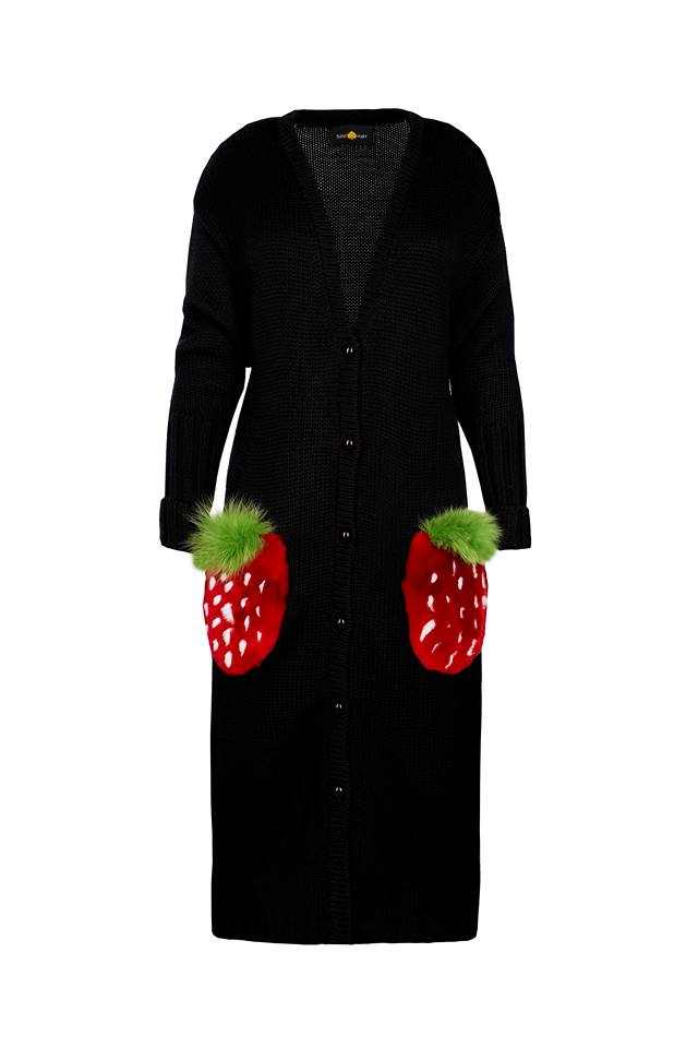 Black cardigan with strawberries