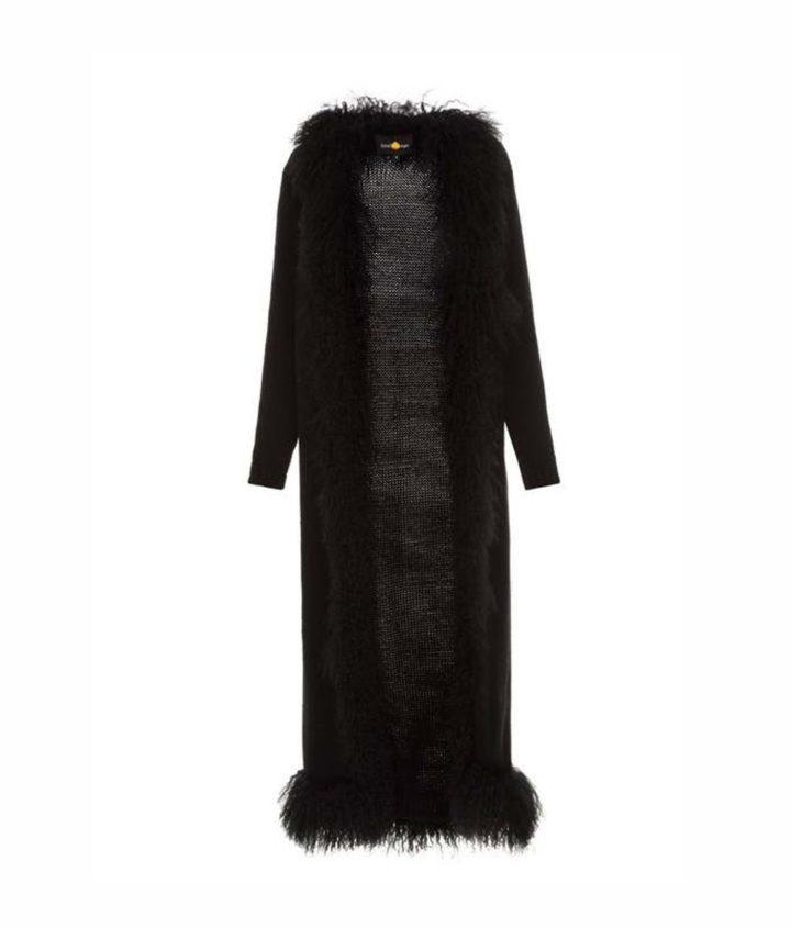 Black cardigan with lama fur decor