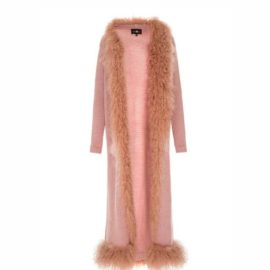 Pink cardigan with lama fur decor
