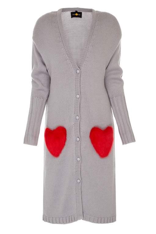 Red hearts long grey cardigan