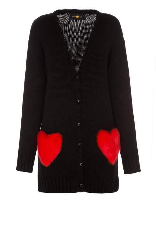 Red hearts short black cardigan