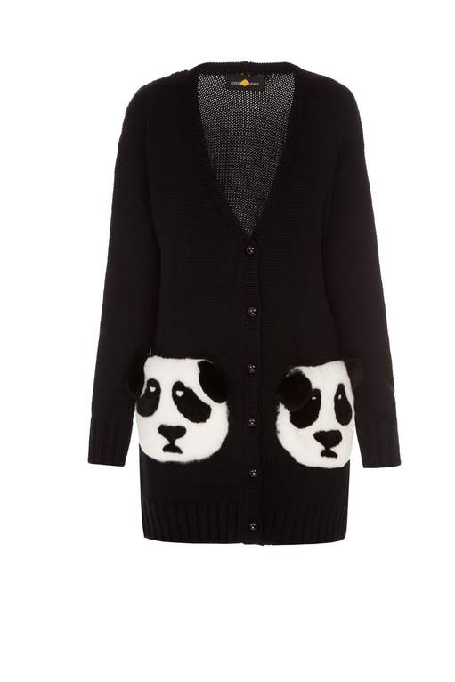 """Pandas"" short black cardigan"