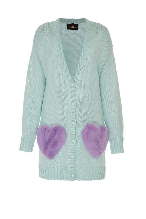 Mint cardigan with lavender pockets