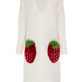 Strawberry long white cardigan