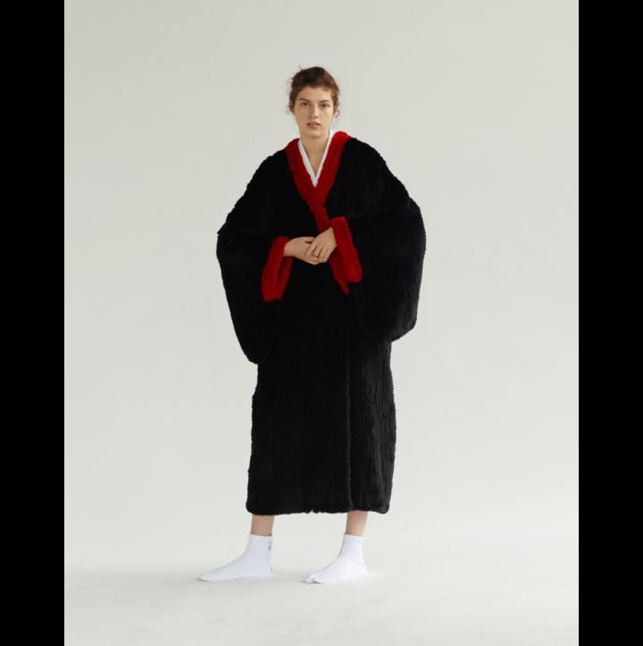 """Black fur kimono """"Dragon"""""""