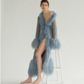 Light blue cardigan with lama fur