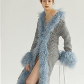 Light blue cardigan with lama fur