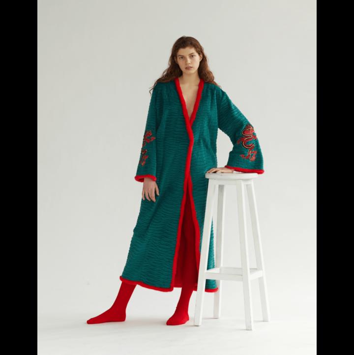 Emerald fur kimono