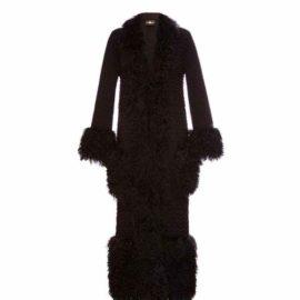Black cardigan with lama fur