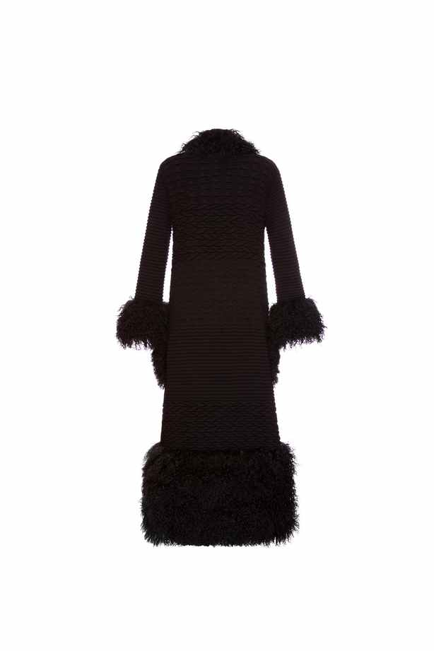 Black cardigan with lama fur