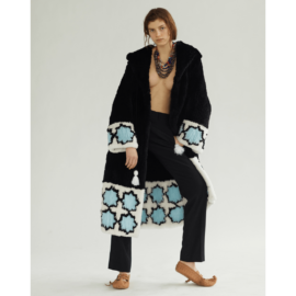 Knitted rex fur coat with light blue ornament