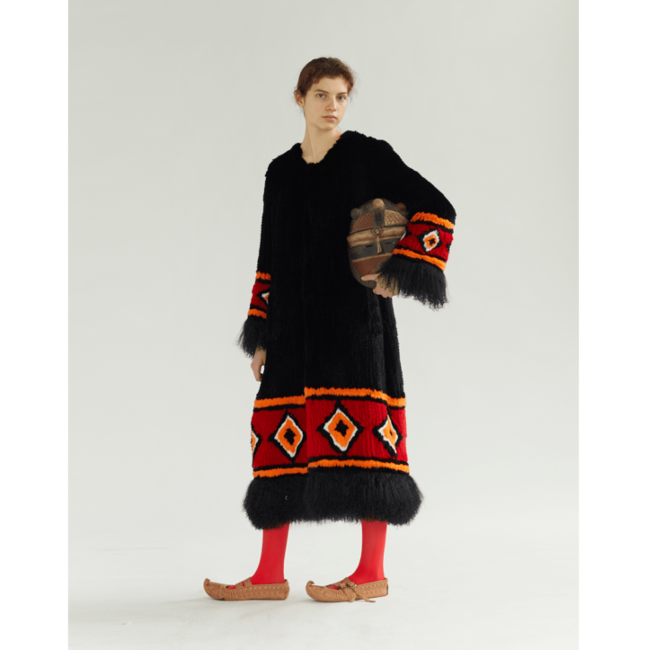 knitted rex fur coat with red ornament