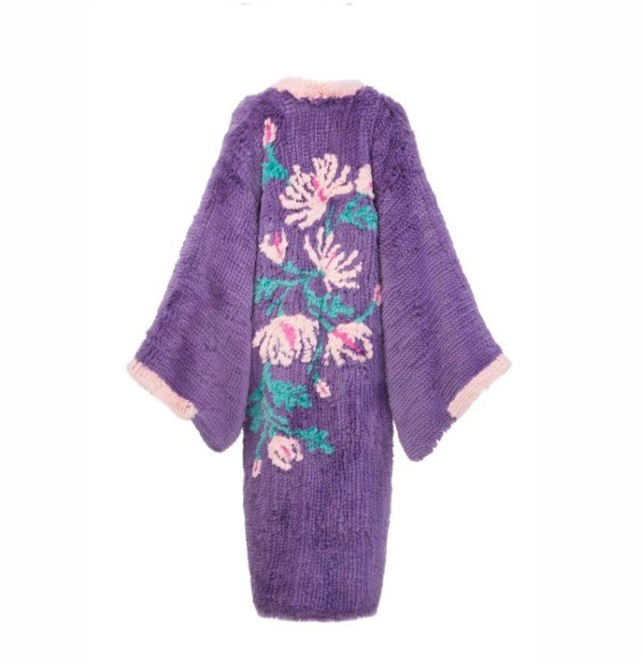 """Lavender fur kimono """"Flowers"""""""