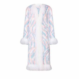 Knitted rex fur coat with lama fur elements