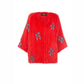 "Red mink fur coat "" Beaded flowers"""