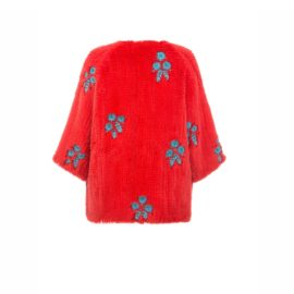 "Red mink fur coat "" Beaded flowers"""