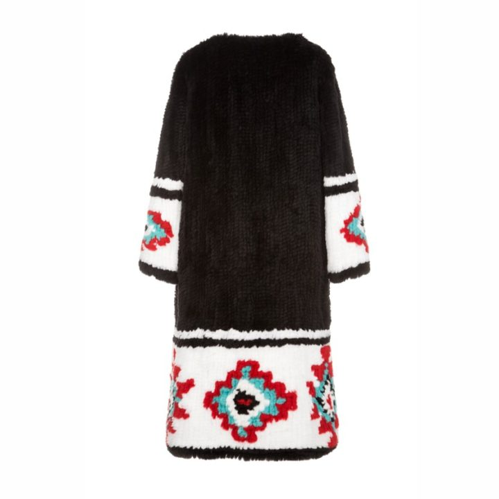 Knitted rex fur coat with white ornament