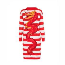 """Dragon"" stripped red cardigan"