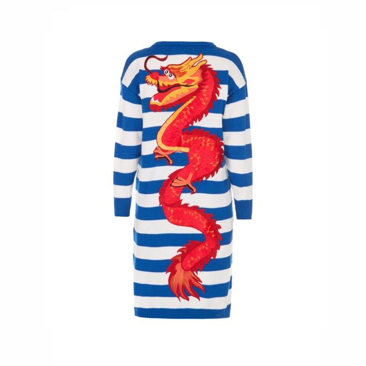 """""""Dragon"""" stripped blue cardigan"""