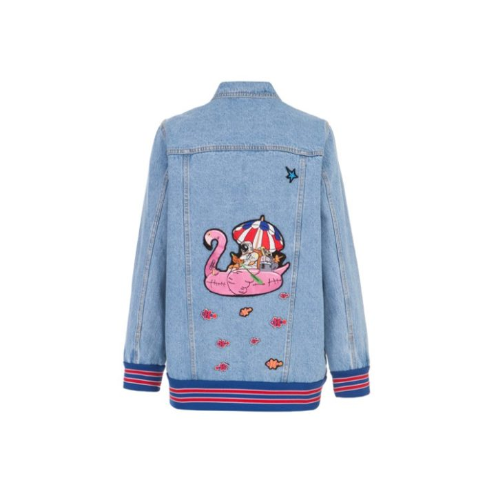 Denim jacket with embroidered applique