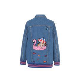 Dark Denim jacket with embroidered applique
