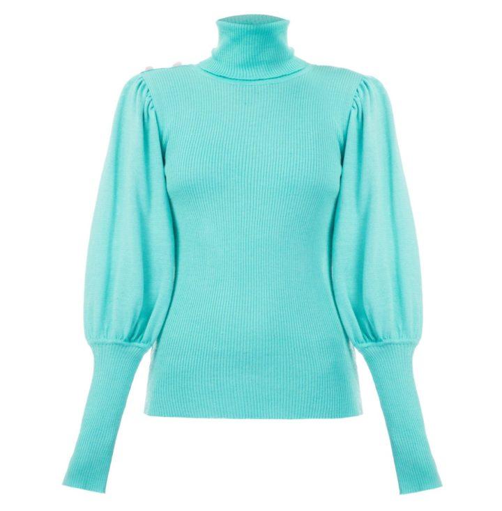 Volume sleeves mint sweater