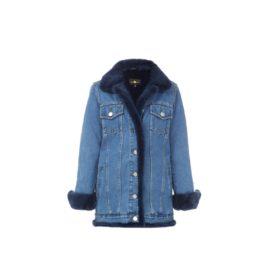 Blue fur denim jacket