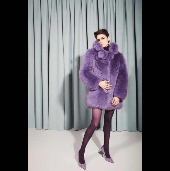 Lilac arctic fox fur coat