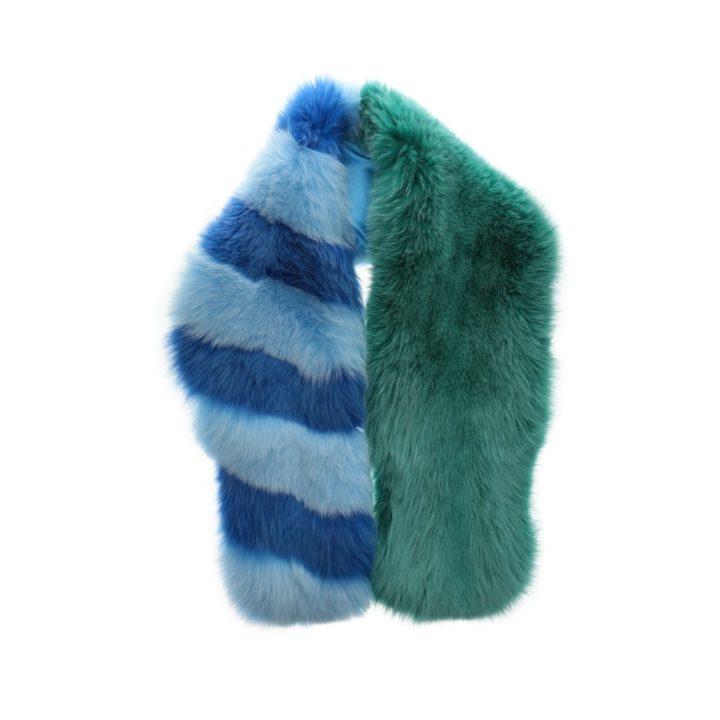 Artic fox fur stripped scarf