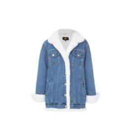 White fur denim jacket