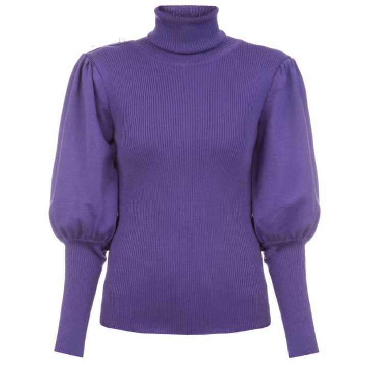 Volume sleeves violet sweater