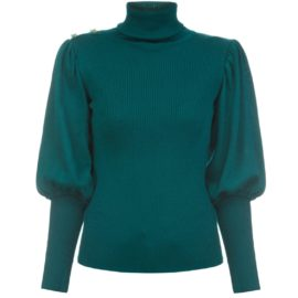 Volume sleeves emerald sweater