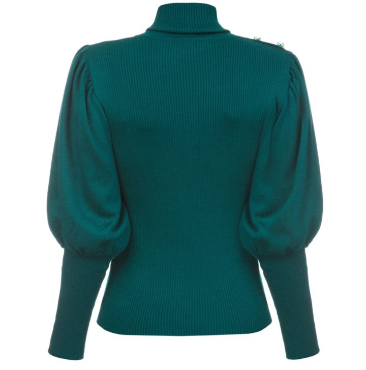 Volume sleeves emerald sweater