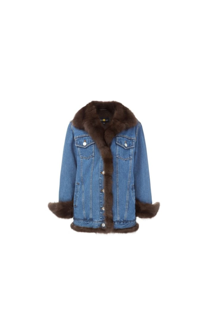 Brown fur denim jacket