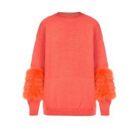 Peachy artic fox sweater