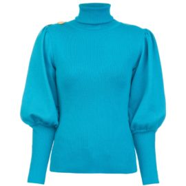 Volume sleeves turquoise sweater