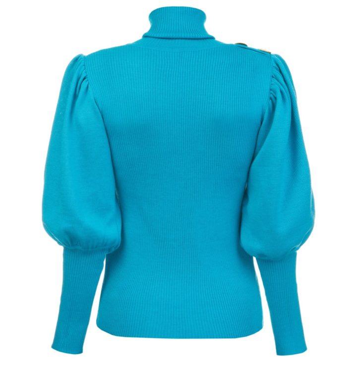Volume sleeves turquoise sweater
