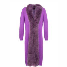 Violet cardigan with artic fox edge