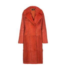 Orange rabbit fur coat